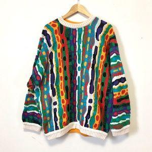 Vintage Coogi Sweater Multi-Color Biggie XL Rare